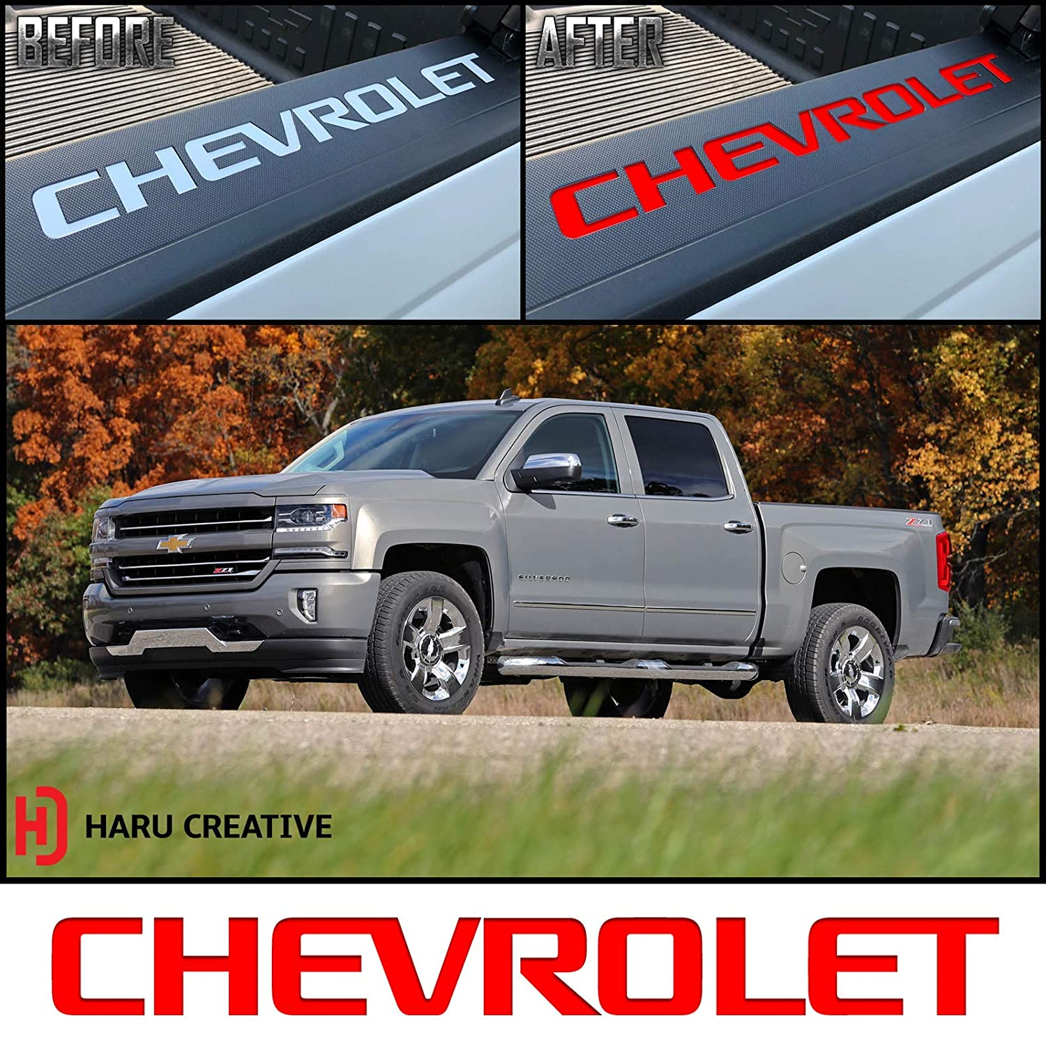 Chrome Steel Blue Haru Creative Rear Trunk Tailgate Bed Rail Cap Letter Insert Overlay Vinyl Decal Compatible Chevy Chevrolet Silverado 2014-2018