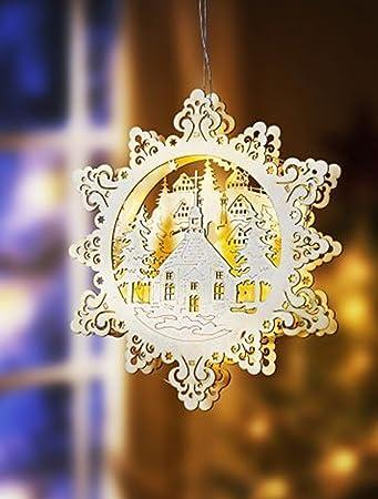 Fensterlicht Weihnachten.Led Fensterbild Aus Holz Holz Fensterbild Sternenkranz