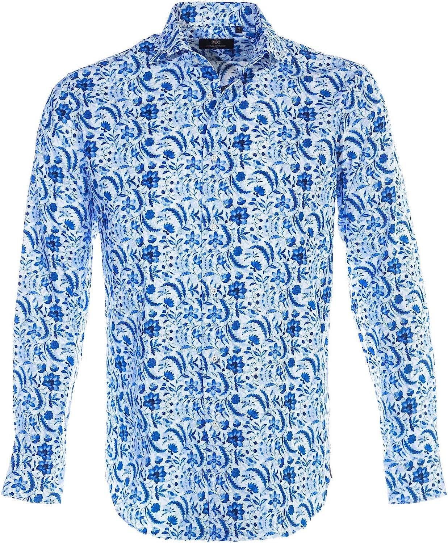 Circle of Gentlemen Bernhard Shirt in Blue Leaf Print