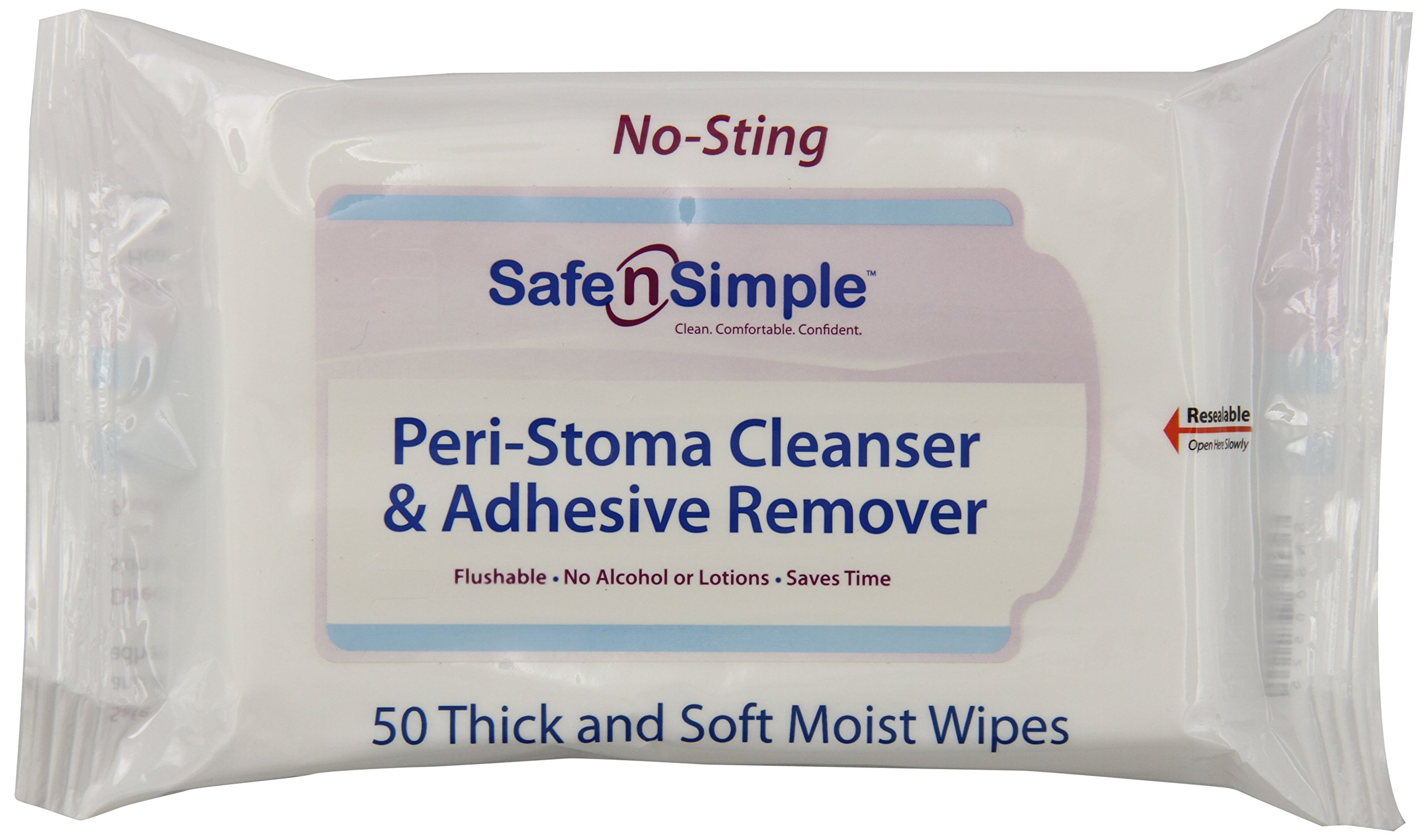 Safe n' Simple Peri-Stoma and Adhesive Remover Wipe, 50 Count