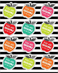 Schoolgirl Style Black, White and Stylish Motivational Apples Stickers—6 Inspirational You are Awesome to the Core Sticker Sheets for Assignments and Rewards (72 pc) (168298)