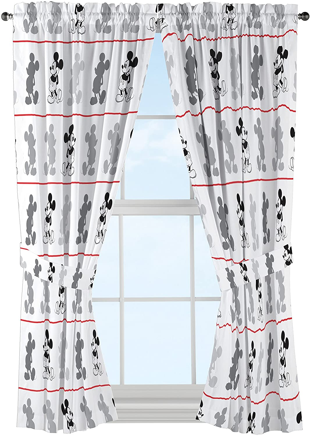 "Disney Mickey Mouse Jersey White 4 Piece 63"" Curtain/Drapes Set (2 Panels, 2 Tiebacks)"