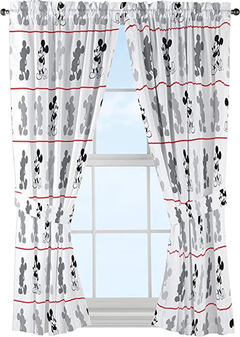 Kids Nursery Mickey Mouse 90 Years Of Magic Valance Curtains With Matching Tie Back Tab Top 2 Panels Ac Baby Products