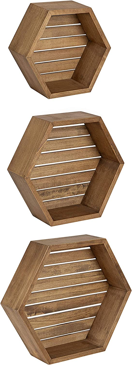 Kate and Laurel Putnam Rustic Hexagon Shelf, Set of 3, Rustic Wood, Dynamic Geometric Wall Decor and Storage