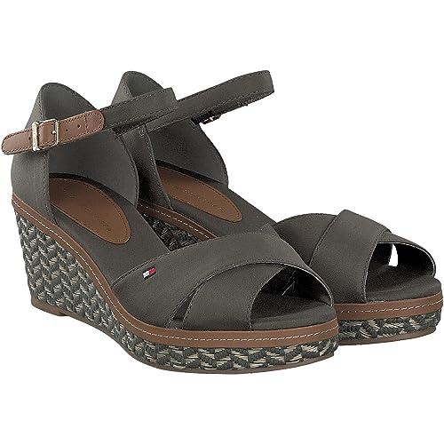 Tommy Hilfiger E1285LBA 31D Kaki, Sandalia de Mujer, 37: Amazon.es: Zapatos y complementos