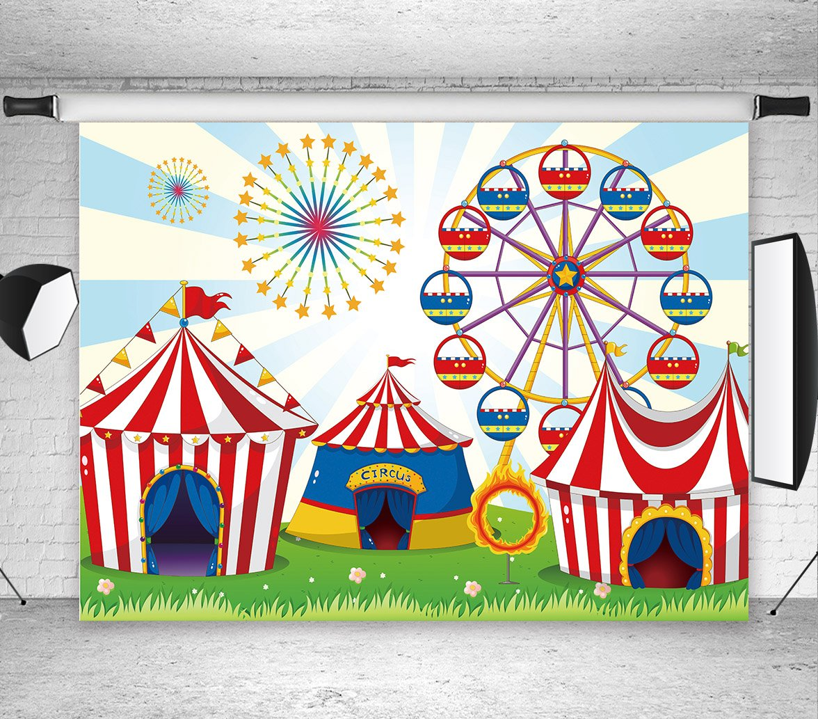 LB 7X5ft Circus Carnival Party Vinyl Photography Backdrop for Baby Kids Birthday Decoration Ferris Wheel Customized Photo Background Photo Studio Prop MB229 by LB