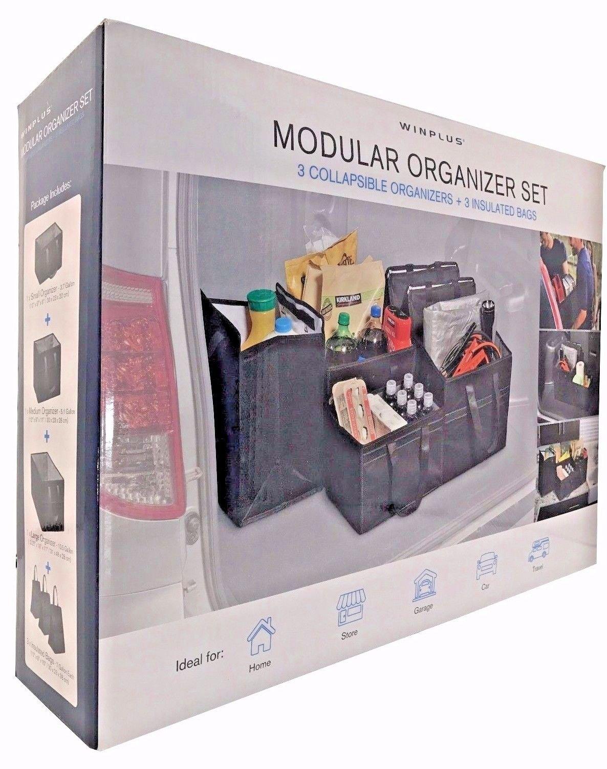 Winplus Modular Organizer Set 3 Collapsible Organizers + 3 Insulated Bags