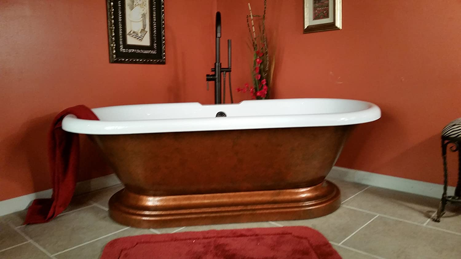 Acrylic 70 Inch Double Ended Copper Pedestal Tub- No Faucet Holes ...