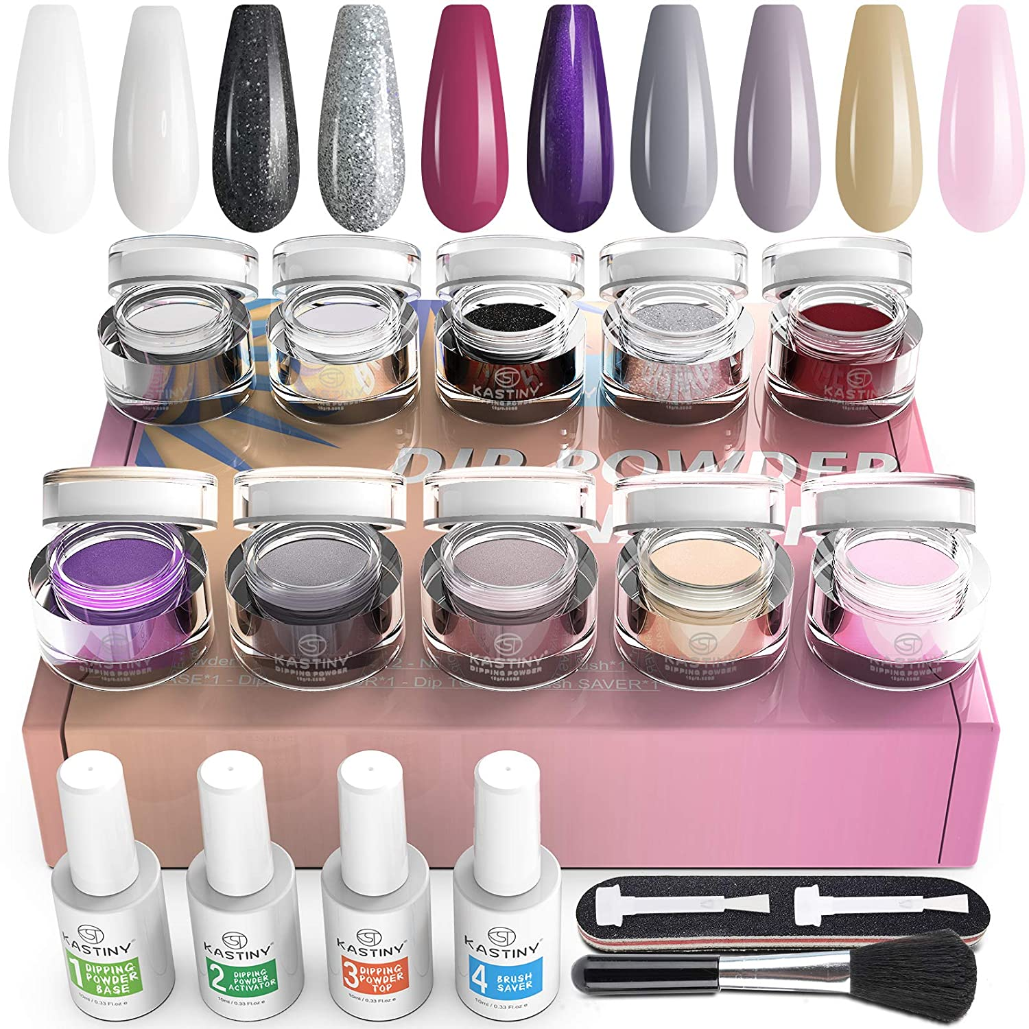 Dip Powder Nail Kit Starter, Kastiny 10 Colors Clear White Black Dipping Powder with Base Activator Top Coat and Brush Saver, Glitter Nail Art DIY Manicure Set at Home