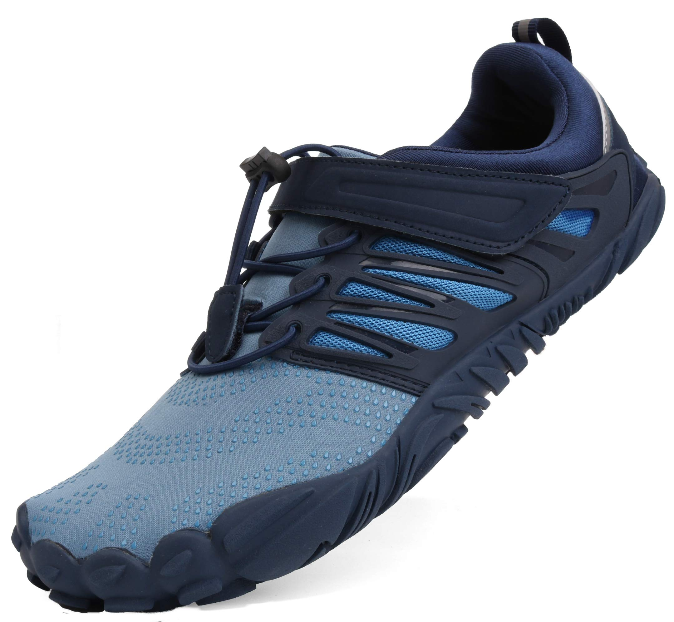 WHITIN Men's Minimalist Barefoot Shoes Low Zero Drop Trail Running 5 Five Fingers Wide Toe Box for Male Fivefinger Runner Pilates Hiking Blue Size 10 by WHITIN