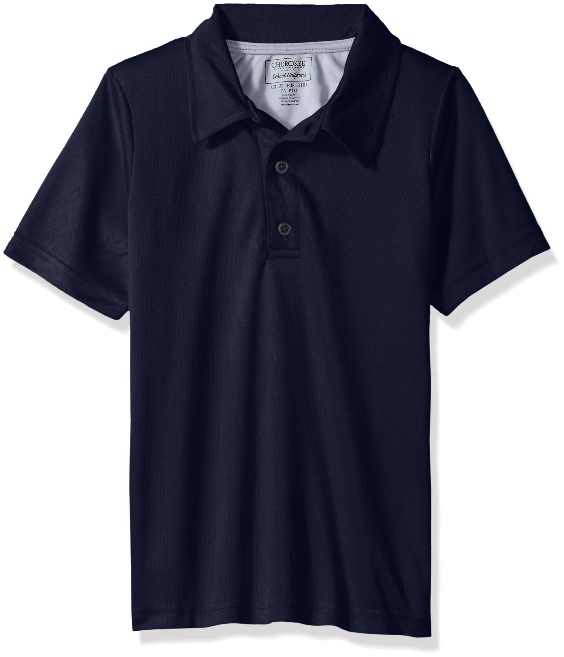 Cherokee Big Boys' Uniform Short Sleeve Performance Polo, Navy, 14/16