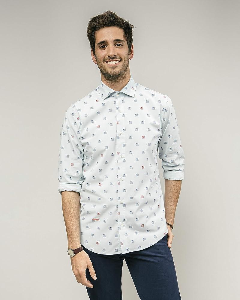 Brava Fabrics | Camisa Hombre Manga Larga Estampada | Camisa Azul para Hombre | Camisa Casual Regular Fit | 100% Algodón | Modelo 90s DiskettesS: Amazon.es: Ropa y accesorios