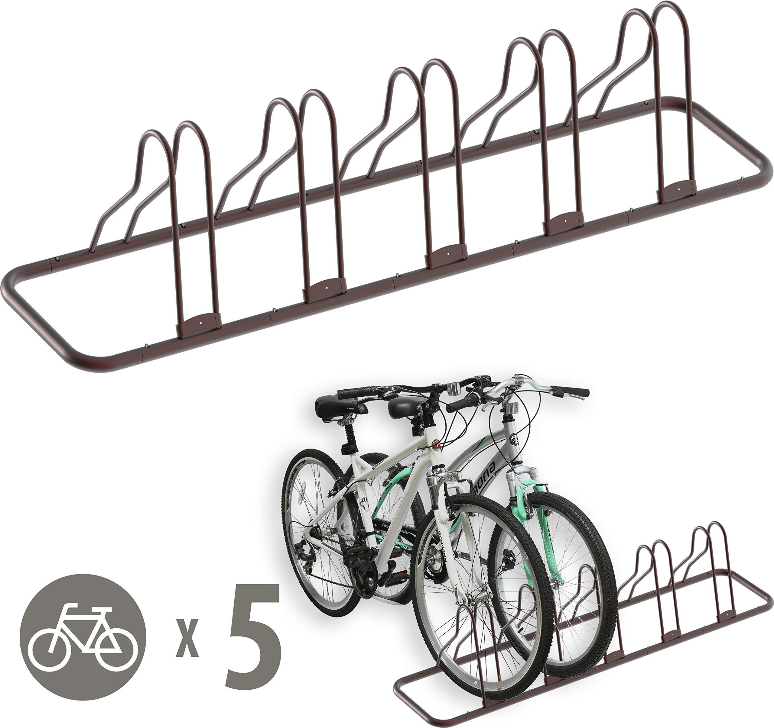 Simple Houseware 5 Bike Bicycle Floor Parking Adjustable Storage Stand, Bronze by Simple Houseware