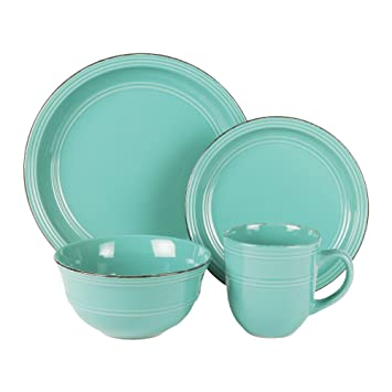 American Atelier 16 Piece Madelyn Blue Dinnerware Set Aqua  sc 1 st  Amazon.com & Amazon.com: American Atelier 16 Piece Madelyn Blue Dinnerware Set ...