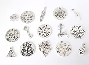 15 Charms Dobby The House Elf Hogwarts Wizard Harry Book/Movie Theme Charms Antique Silver Zinc Alloy Mischief Managed (Word Charms with Jump Rings)