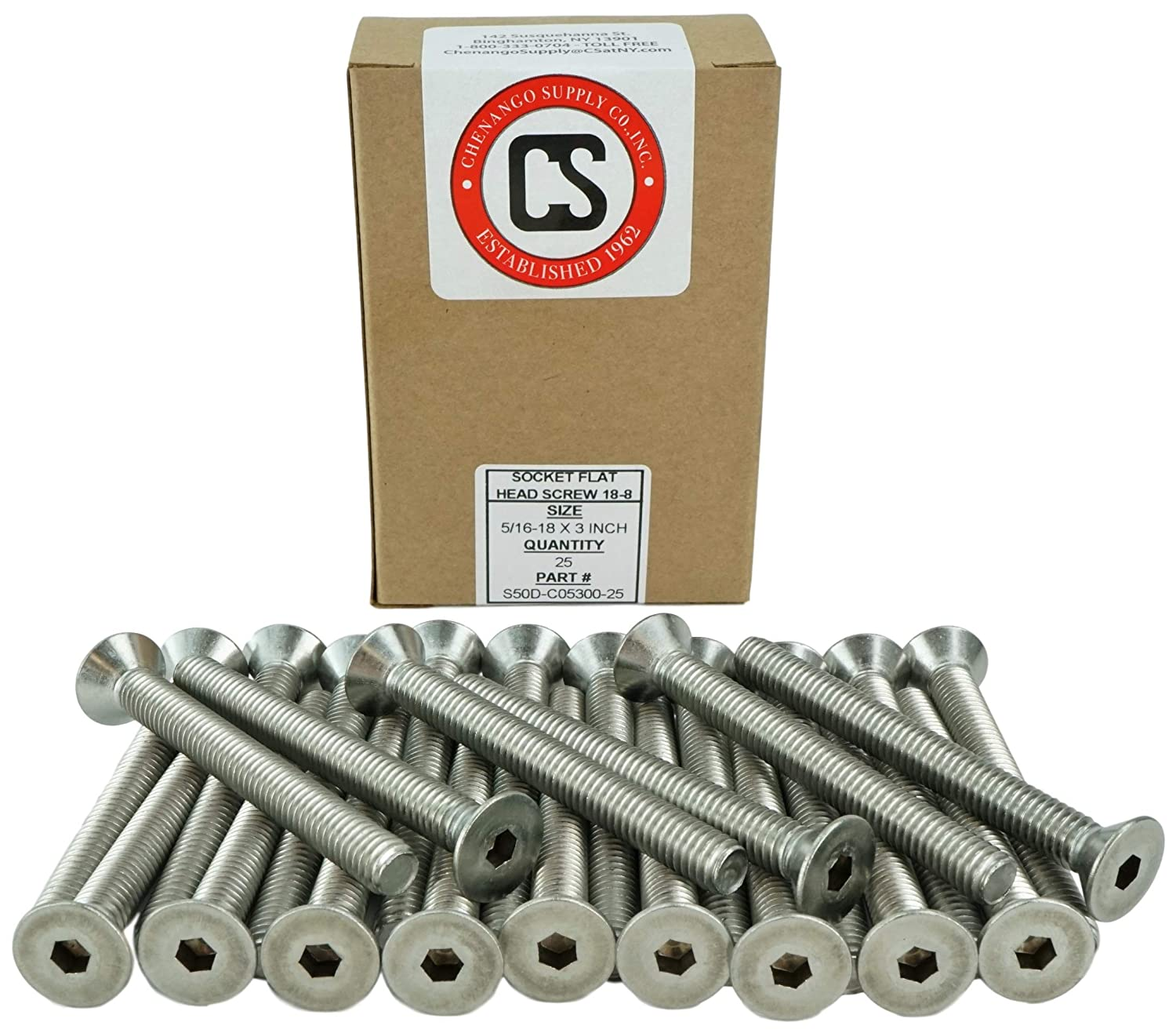 Stainless 5//16-18 x 1-3//4 Coarse Thread 5//8 to 3 Available 5//16-18 x 1-3//4 Stainless Steel 18-8 Hex Drive Socket Flat Head Screws Full Thread