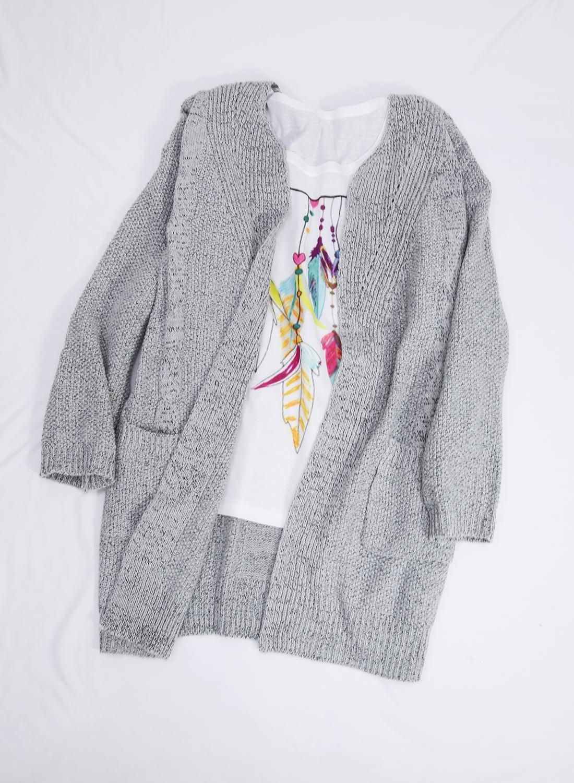 Futurino Women's Cable Twist School Wear Boyfriend Pocket Open Front Cardigan (One Size, Grey) by Futurino (Image #2)