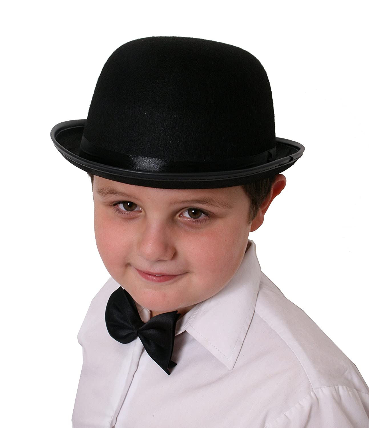 Steampunk Kids Costumes | Girl, Boy, Baby, Toddler Small Bowler hat Black felt 55cm-56cm Ladies or Childrens GENTS FANCY DRESS  AT vintagedancer.com