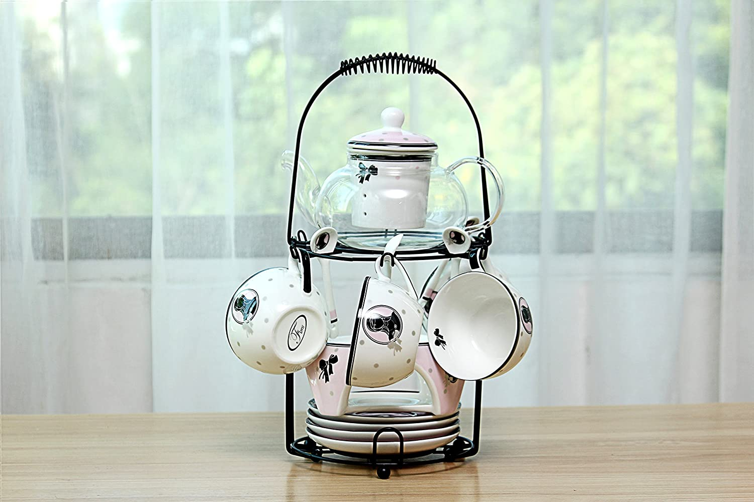 Wire rack for organizing 6*saucers & 6*cups & 6*spoons & 1*teapot or ...