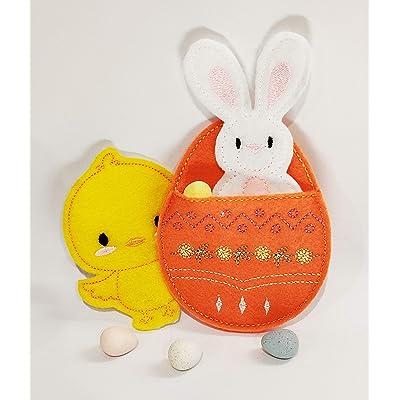 Penny's Boutique Cute Easter Finger Puppet Set - Easter Bunny & Chick Felt Finger Puppets w/Egg Holder are Great for Easter Baskets (Orange): Toys & Games