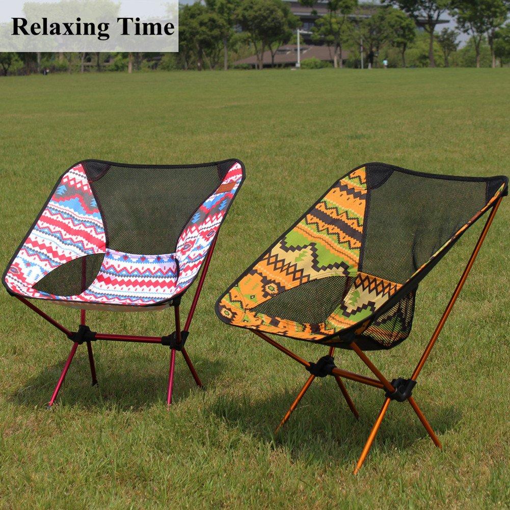 Rojo Camping Silla Plegable de Camping Muy Ligera y Compacta Perfecto para Senderismo Peso Neto S/ólo 1 kg, Capacidad de Peso 150 kg Playa Pesca