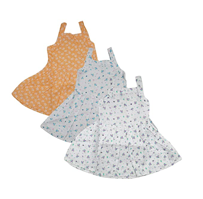 af7327ff2 My Dream Baby Baby Girls' Cotton Frock Jhabla (Set of 3, Multi-Coloured,  0-6 Months): Amazon.in: Clothing & Accessories