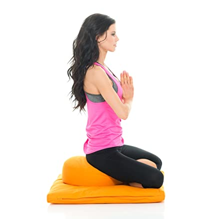 Awaken Meditation Hand/Machine Washable Round Zafu Zabuton Yoga Mat & Cushion Set Filled with Buckwheat - 100% Cotton (Orange)