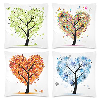 fda74e9a7d52 InterestPrint 4 Pack Heart Shape Seasonal Tree of Life Pillow Case Cover  18x18 Twin Sides, Colorful Spring Summer Fall Winter Love Tree Zippered  Throw ...