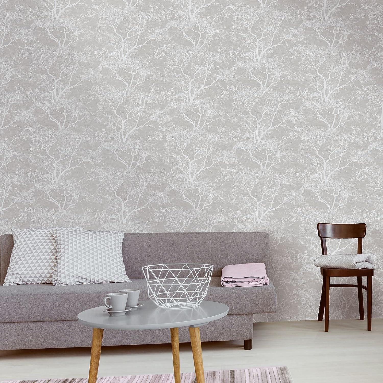 Holden Decor Statement Wallpaper Whispering Trees Silver 65401