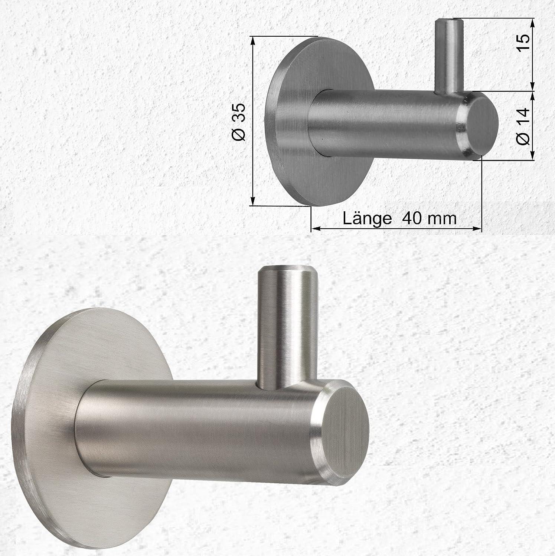 2/appendiabiti in acciaio inox spazzolato gancio gancio appendiabiti da parete