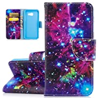 Galaxy A5 2017 Case, ISAKEN PU Leather Cover for Samsung Galaxy A5 2017 - Fashion Colorful Painted Bookstyle Cell Phone Case Luxury Flip Wallet Magnetic Design Mobile Cover Protect Skin Stand Case Pouch with Card Holder - glitter stars