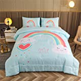 A Nice Night Ultra Soft Chirstmas Kid's Comforter Set Cartoon Blue Rainbow Pattren Bedding Sets (Blue-Rainbow, Twin(Comforter