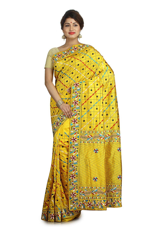 Indian Ethnic Raw Silk Mustard Yellow Fancy Saree