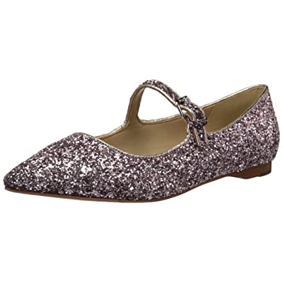 Brand - The Fix Women's Estrella Mary Jane Glitter Ballet Pointed Toe Flat, Pink, 6 B US: Shoes