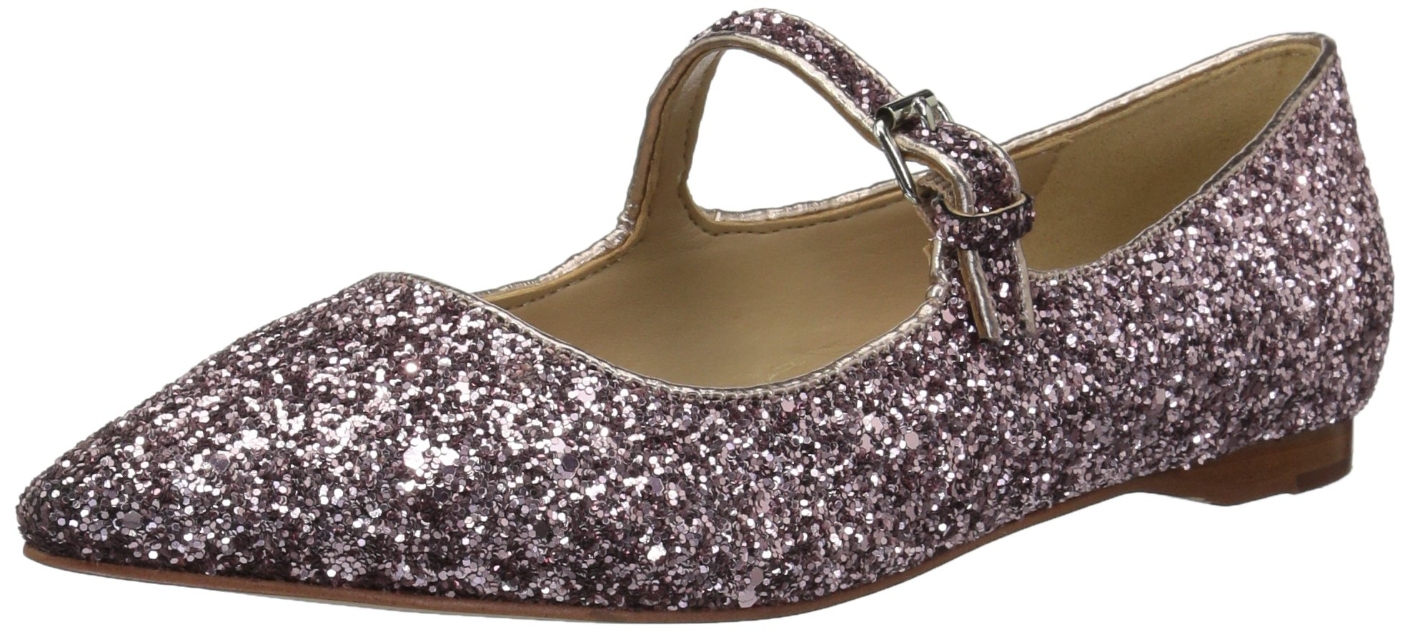 The Fix Women's Estrella Mary Jane Glitter Ballet Pointed Toe Flat, Pink, 8 B US