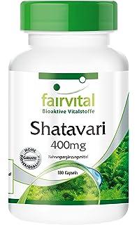 Shatavari 400 mg - 45 días - VEGANO - Alta dosificación - 180 cápsulas - Asparagus