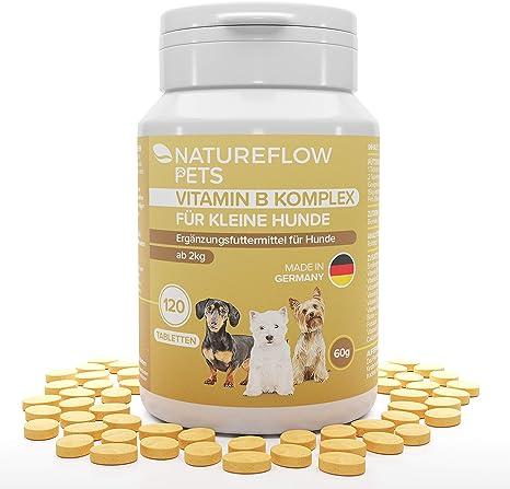 Complejo de Vitamina B Perros - B Vitaminas para perros a partir de 2 kg - 120 Comprimidos de vitaminas - Suplemento perro con K3, ácido fólico, ...