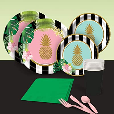Luau Tropical Birthday Party Like a Pineapple Party Pack for 8 Party Supplies Decorations Plates Napkins Cups Tableware: Toys & Games