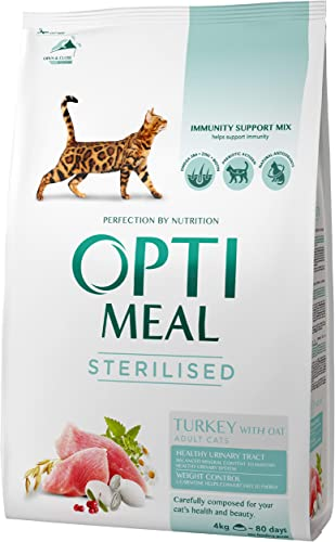 OPtimeal Natural Cat Food for Sterilised Neutered Cats – Turkey. Urinary Friendly Formula