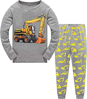Toddler Boys Pajamas Fire Truck 100/% Cotton Kids Train 2 Piece Short Sets Summer Sleepwear Clothes Set 1-7 T