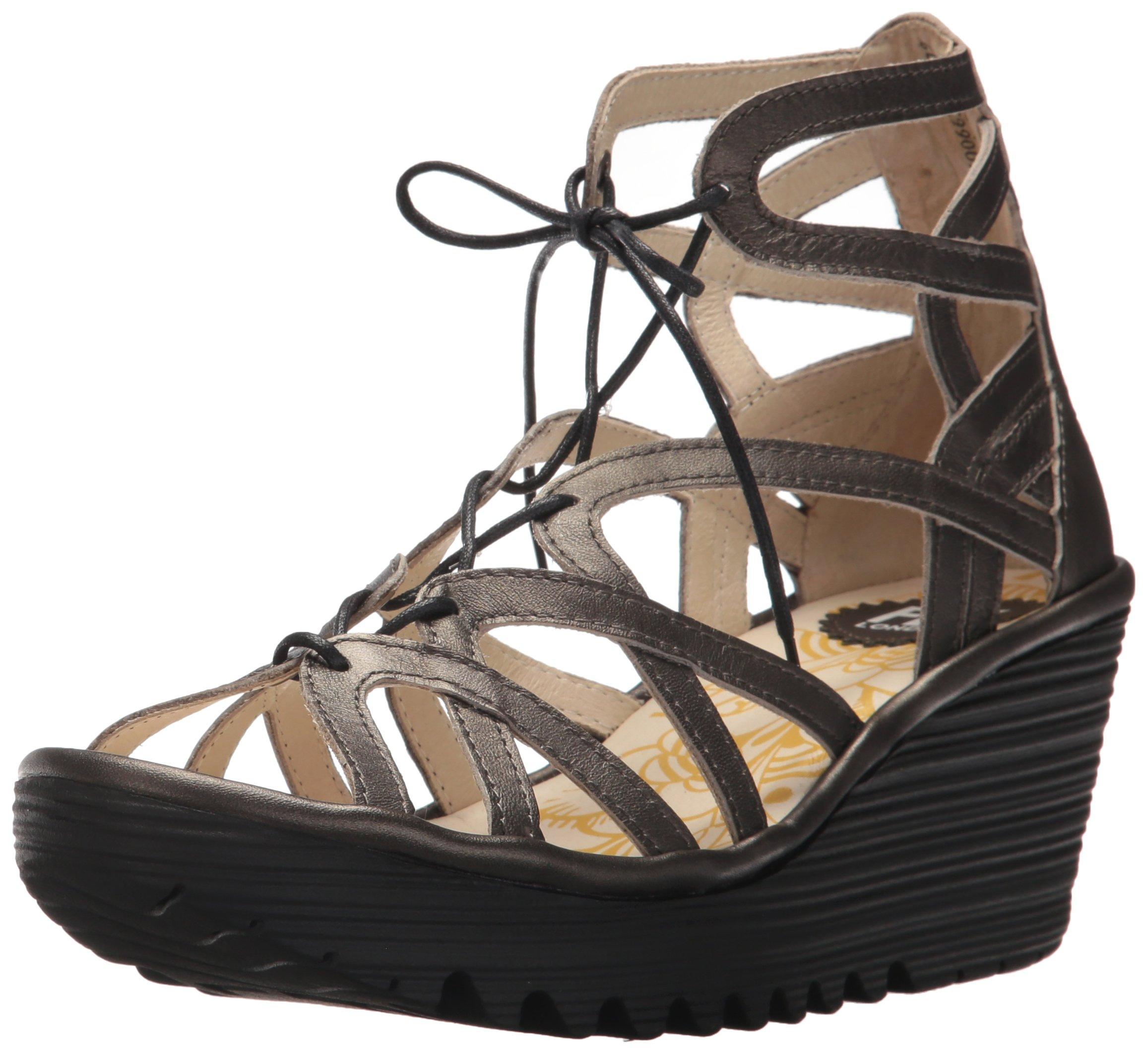 FLY London Women's YUKE663FLY Wedge Sandal, Anthracite Grace, 39 M EU (8-8.5 US)
