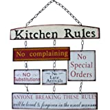Kitchen Rules Metal Hanging Sign Chic Style Shabby Look Tin Kitchen Wall Sign