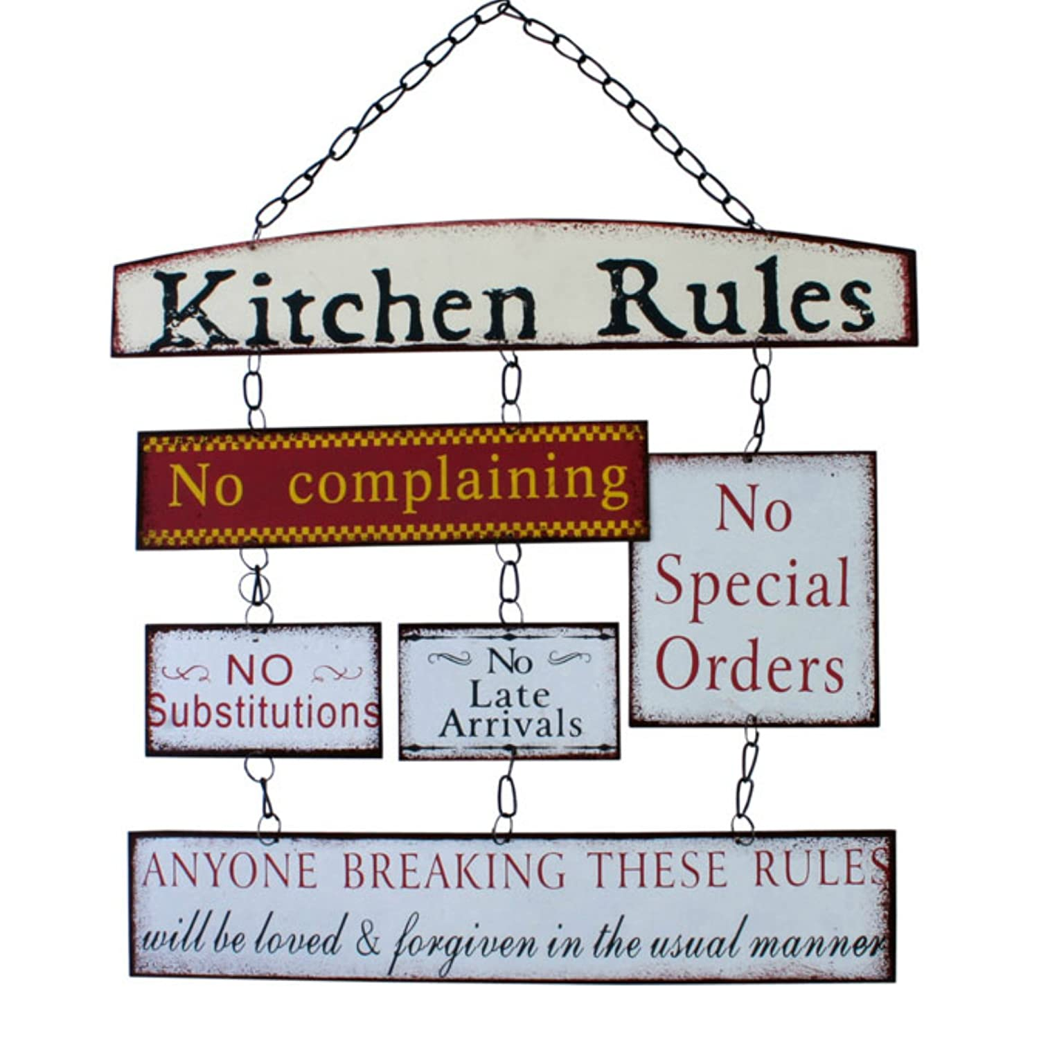 Kitchen Rules Metal Hanging Sign Chic Style Shabby Look Tin Kitchen ...