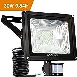 30W Faretto LED con sensore di movimento Proiettore LED illuminazione di sicurezza IP65 impermeabile per esterno 3000lm SAMHUE ,cavi lunghi fino a 9,84ft. [Classe di efficienza energetica A++]