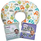 Beloved Boppy Nursing Pillow and Positioner, Peaceful Jungle, Boppy Water-resistant Protective Slipcover and extra adorable Boppy Classic Slipcover, Gray Giraffe