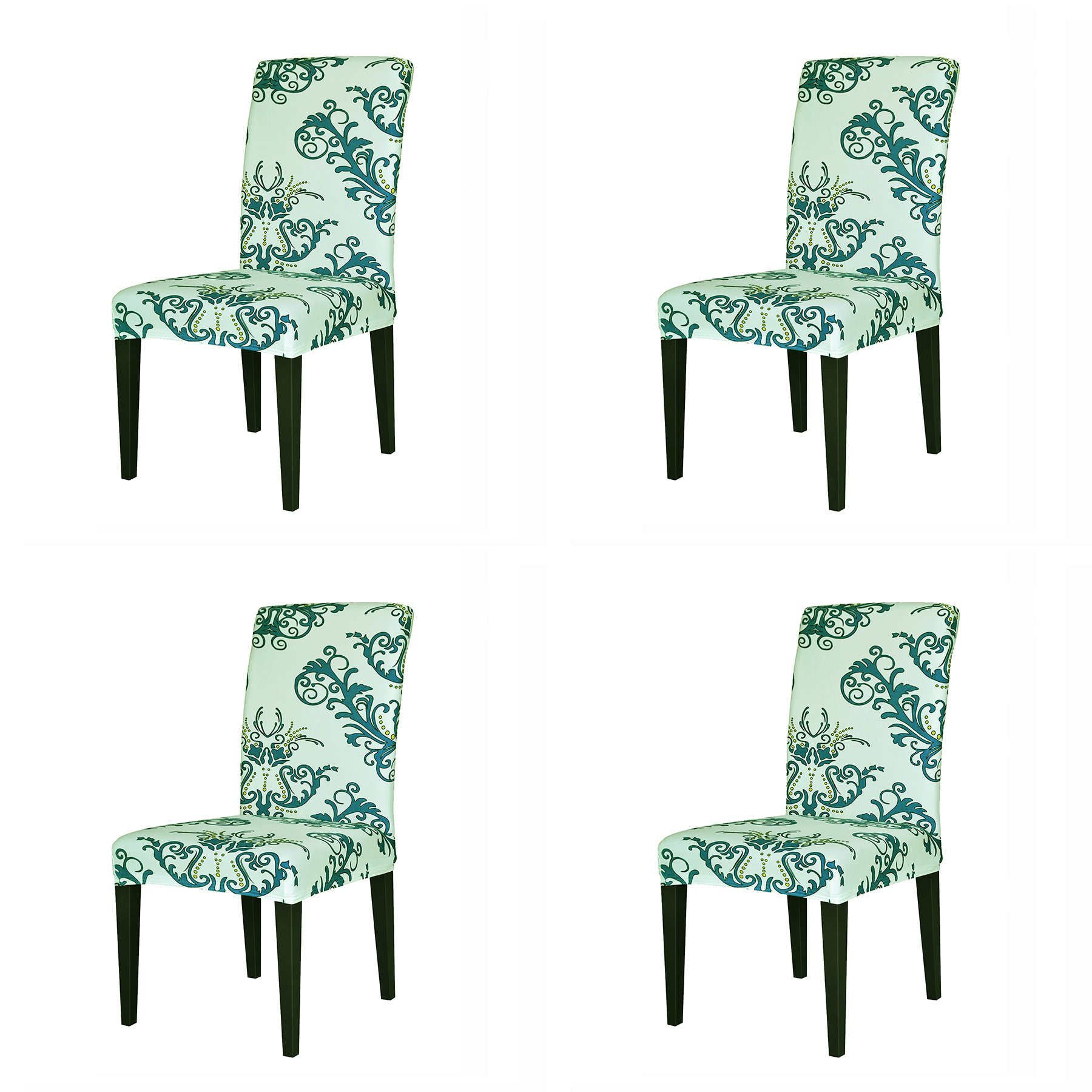 TIKAMI 4PCS Spandex Printed Fit Stretch Dinning Room Chair Slipcovers (4, Green)