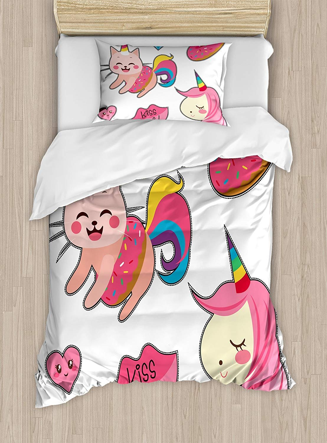 Twin XL Extra Long Bedding Set, Unicorn Cat Duvet Cover Set, Cute Fantastic Icons for Girls Magical Characters Mythological Mascots, Cosy House Collection 4 Piece Bedding Sets