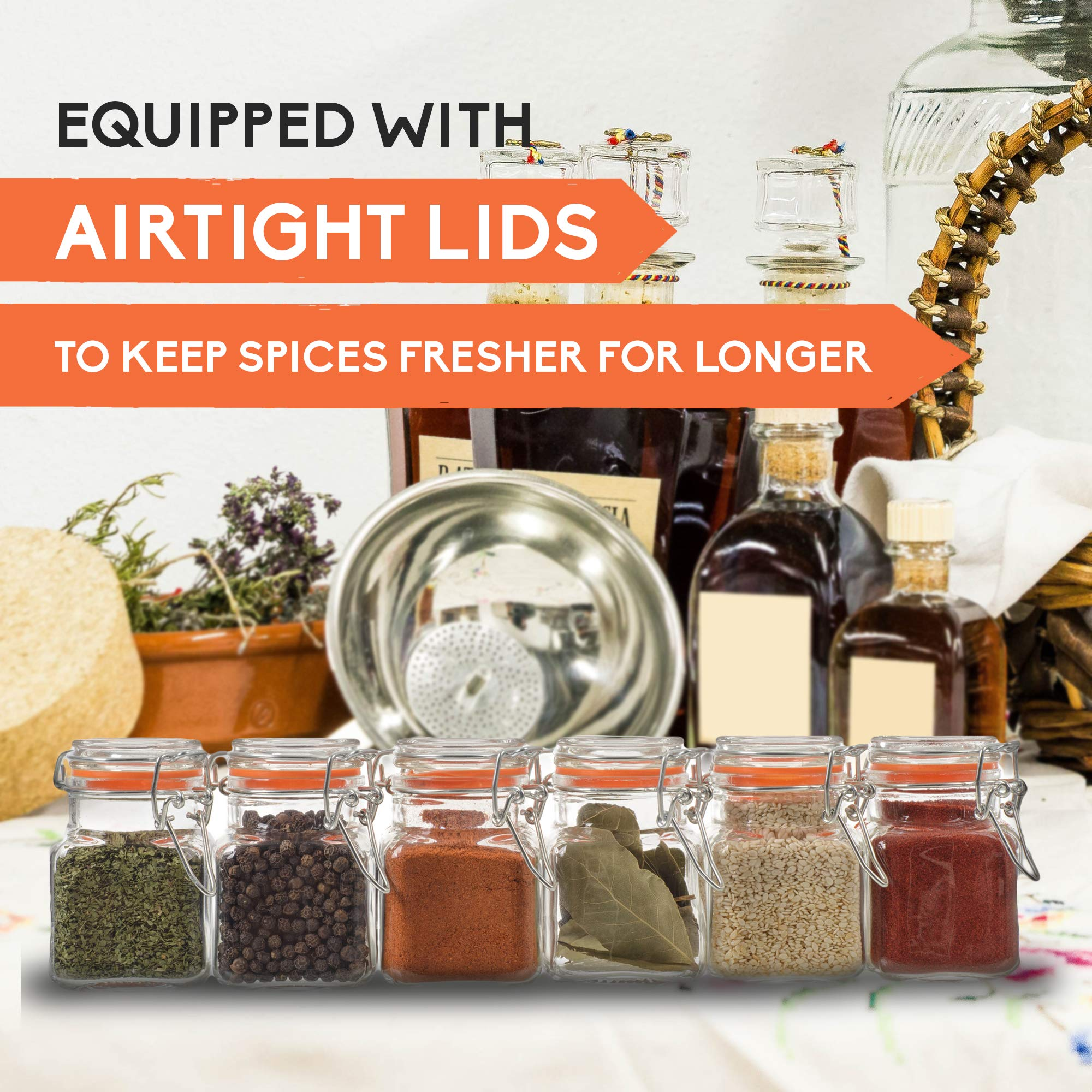 24 Count 3.4 oz Spice Jars Glass Jar with Airtight Lid, Mini Square Glass Spice Jars, Empty Spice Bottles with Labels, Dried Herbs Jars, Glass Apothecary Jars with Lids, Small Glass Spice Containers24 by California Home Goods (Image #4)