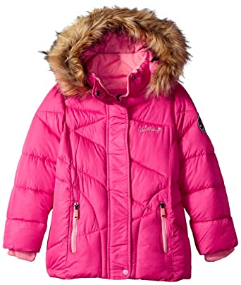 3758fa518566 Amazon.com  Weatherproof Girls  Bubble Jacket with Faux Fur Trim ...