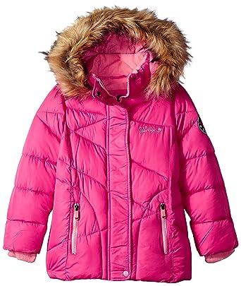 3758fa518566 Amazon.com  Weatherproof Girls  Bubble Jacket with Faux Fur Trim ...